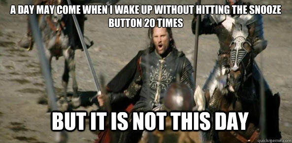 a day may come when i wake up without hitting the snooze button 20 times BUT IT IS NOT THIS DAY