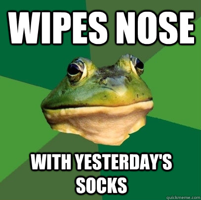 Wipes nose With yesterday's socks - Wipes nose With yesterday's socks  Foul Bachelor Frog