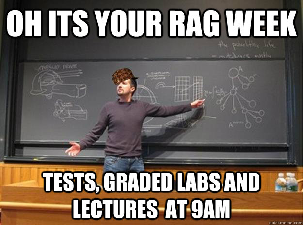 oh its your rag week Tests, graded labs and lectures  at 9am