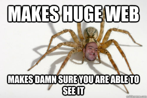 Makes huge web makes damn sure you are able to see it