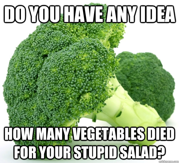 do you have any idea how many vegetables died for your stupid salad? - do you have any idea how many vegetables died for your stupid salad?  vegans