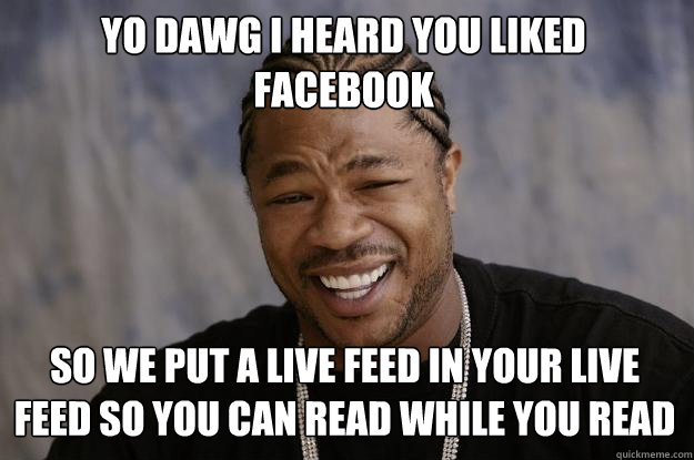 Yo dawg i heard you liked facebook so we put a live feed in your live feed so you can read while you read - Yo dawg i heard you liked facebook so we put a live feed in your live feed so you can read while you read  Xzibit meme