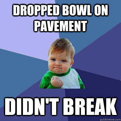 Dropped bowl on pavement Didn't break - Dropped bowl on pavement Didn't break  Success Kid