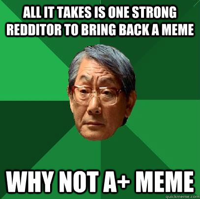 all it takes is one strong redditor to bring back a meme why not a+ meme - all it takes is one strong redditor to bring back a meme why not a+ meme  High Expectations Asian Father