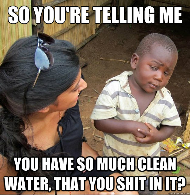 So you're telling me You have so much clean water, that you shit in it? - So you're telling me You have so much clean water, that you shit in it?  Skeptical Third World Kid