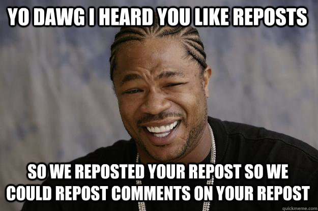 Yo dawg i heard you like reposts So we reposted your repost so we could repost comments on your repost  Xzibit meme