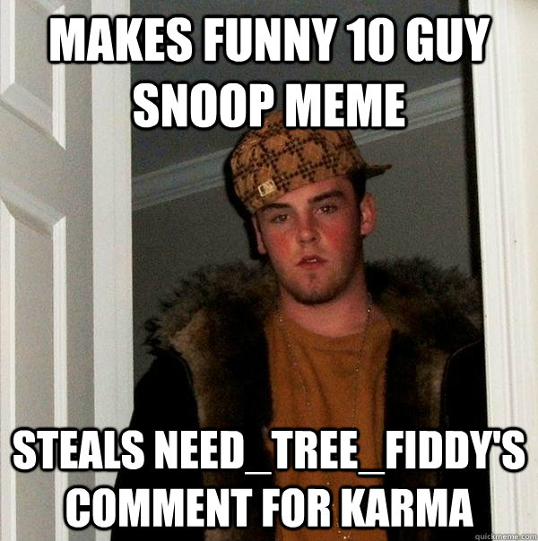 Makes funny 10 Guy Snoop Meme Steals Need_Tree_Fiddy's comment for Karma  - Makes funny 10 Guy Snoop Meme Steals Need_Tree_Fiddy's comment for Karma   Scumbag Steve