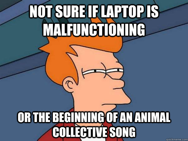 Not sure if laptop is malfunctioning or the beginning of an animal collective song - Not sure if laptop is malfunctioning or the beginning of an animal collective song  Futurama Fry