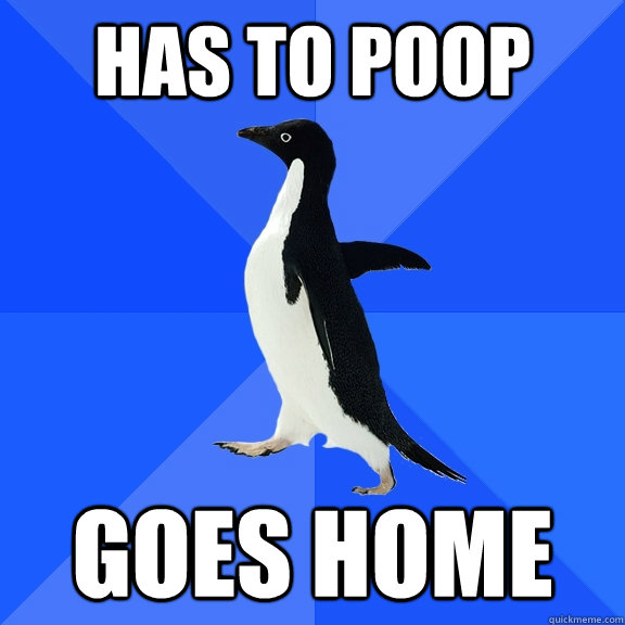 Has to poop Goes Home - Has to poop Goes Home  Socially Awkward Penguin