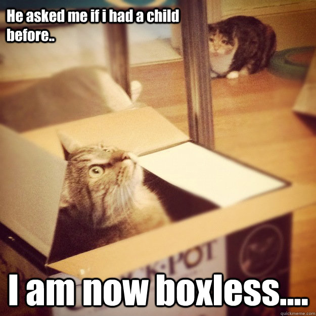 He asked me if i had a child before.. I am now boxless.... - He asked me if i had a child before.. I am now boxless....  Cats wife