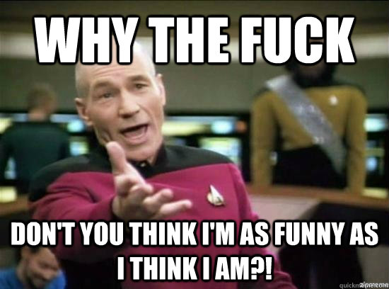 Why the fuck don't you think i'm as funny as i think i am?! - Why the fuck don't you think i'm as funny as i think i am?!  Annoyed Picard HD