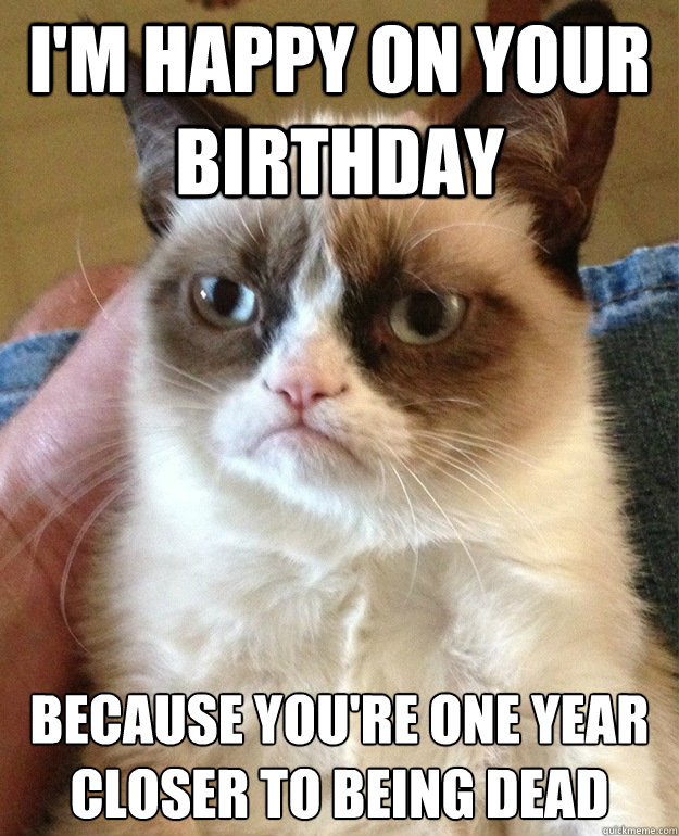 i'm happy on your birthday because you're one year closer to being dead - i'm happy on your birthday because you're one year closer to being dead  grumpycat