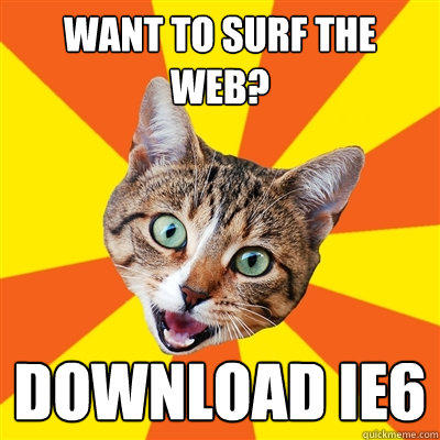 want to surf the web? download IE6 - want to surf the web? download IE6  Bad Advice Cat