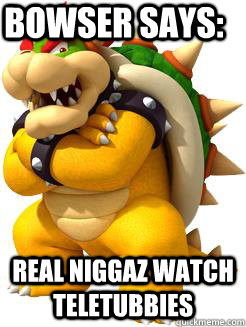 Bowser says: real niggaz watch teletubbies  Bowser Says