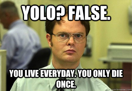 YOLO? FALSE. You live everyday. You only die once.