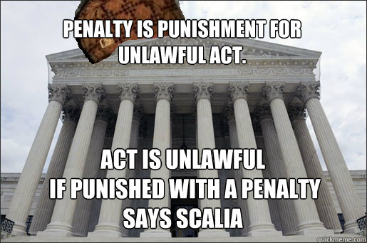 Penalty is punishment for  unlawful act. Act is unlawful  if punished with a penalty says Scalia