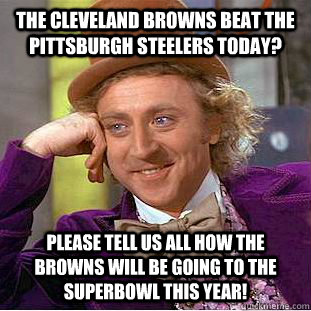 The Cleveland Browns Beat The Pittsburgh Steelers Today? Please tell us all how the Browns will be going to the superbowl this year!  Condescending Wonka