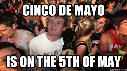 Cinco de mayo is on the 5th of may