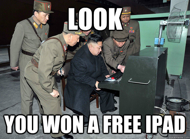 look you won a free ipad