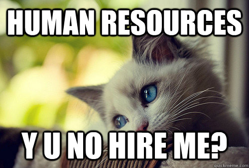 Human Resources Y U no hire me? - Human Resources Y U no hire me?  First World Problems Cat
