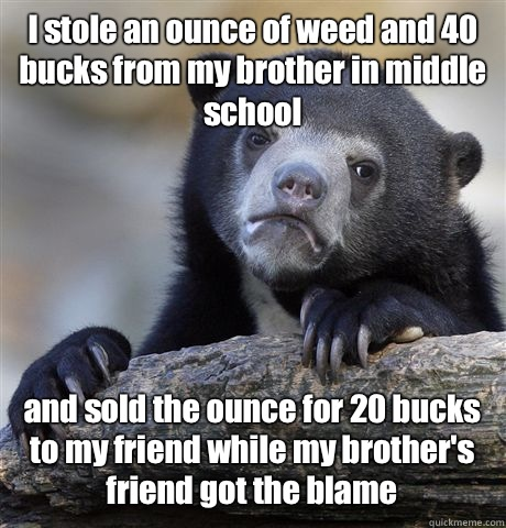 I stole an ounce of weed and 40 bucks from my brother in middle school  and sold the ounce for 20 bucks to my friend while my brother's friend got the blame - I stole an ounce of weed and 40 bucks from my brother in middle school  and sold the ounce for 20 bucks to my friend while my brother's friend got the blame  Confession Bear