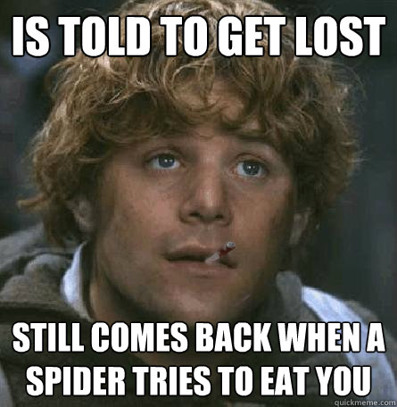 Is told to get lost  Still comes back when a spider tries to eat you - Is told to get lost  Still comes back when a spider tries to eat you  Good Guy Gamgee