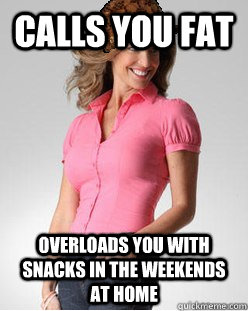 calls you fat Overloads you with snacks in the weekends at home