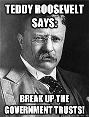 Teddy Roosevelt says: Break up the government trusts! - Teddy Roosevelt says: Break up the government trusts!  Government Trust Buster