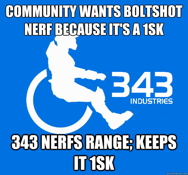 Community wants boltshot nerf because it's a 1sk 343 nerfs range; keeps it 1sk  343 Logic