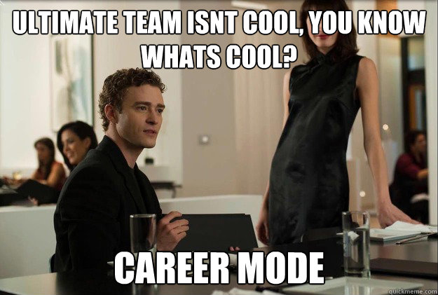 ultimate team isnt cool, you know whats cool? career mode - ultimate team isnt cool, you know whats cool? career mode  justin timberlake the social network scene