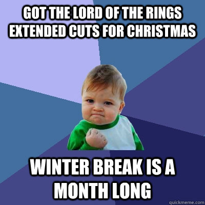 Got The Lord of the Rings Extended Cuts for Christmas Winter Break is a month long - Got The Lord of the Rings Extended Cuts for Christmas Winter Break is a month long  Success Kid