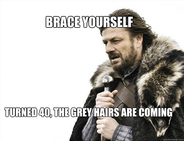 de17e1685c0581ef6a6fbf8f1c4211a9992399e01f3c884b6ea33e4aec5d1d74 brace yourself turned 40, the grey hairs are coming brace,Turning 40 Memes