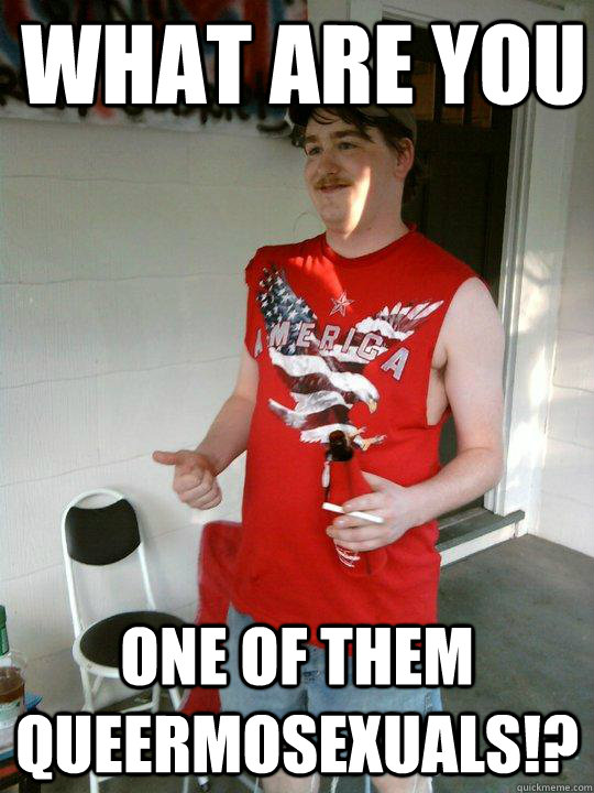 what are you one of them queermosexuals!?  Redneck Randal