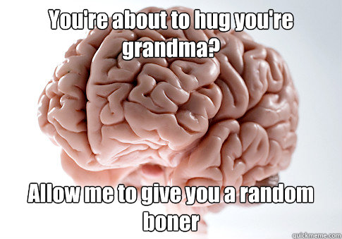 You're about to hug you're grandma? Allow me to give you a random boner  - You're about to hug you're grandma? Allow me to give you a random boner   Scumbag Brain