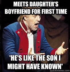 Meets daughter's boyfriend for first time 'He's like the son I might have known'