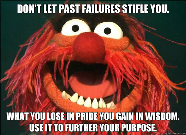 don't let past failures stifle you. what you lose in pride you gain in wisdom. Use it to further your purpose. - don't let past failures stifle you. what you lose in pride you gain in wisdom. Use it to further your purpose.  Misc