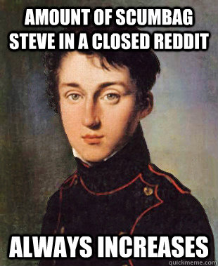 Amount of Scumbag Steve in a closed reddit always increases