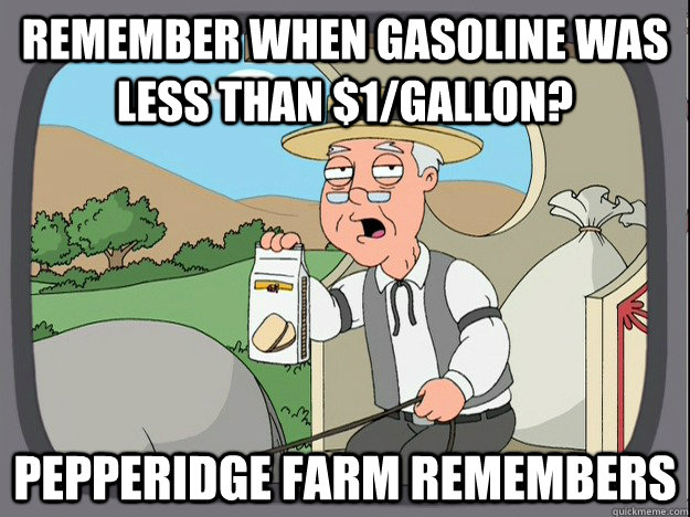 remember when gasoline was less than $1/Gallon?  pepperidge Farm remembers - remember when gasoline was less than $1/Gallon?  pepperidge Farm remembers  Pepridge Farm
