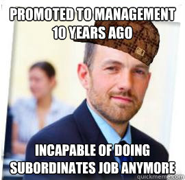 promoted to management 10 years ago Incapable of doing subordinates job anymore - promoted to management 10 years ago Incapable of doing subordinates job anymore  Scumbag Job