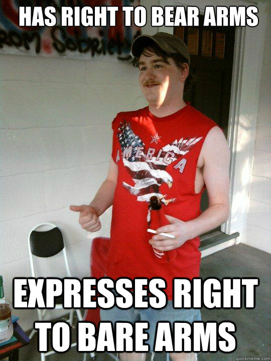 de9d0381dc7ae421b03cdcbe667d5fcc500ba03d51a925c2e384da54e18f73b3 has right to bear arms expresses right to bare arms redneck,The Right To Bear Arms Meme