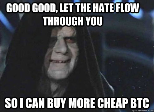 good good, Let the hate flow through you So i can buy more cheap BTC