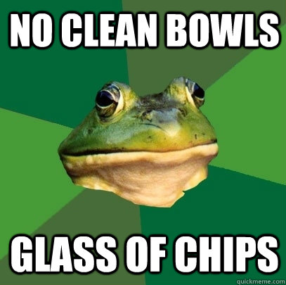 no clean bowls glass of chips - no clean bowls glass of chips  Misc