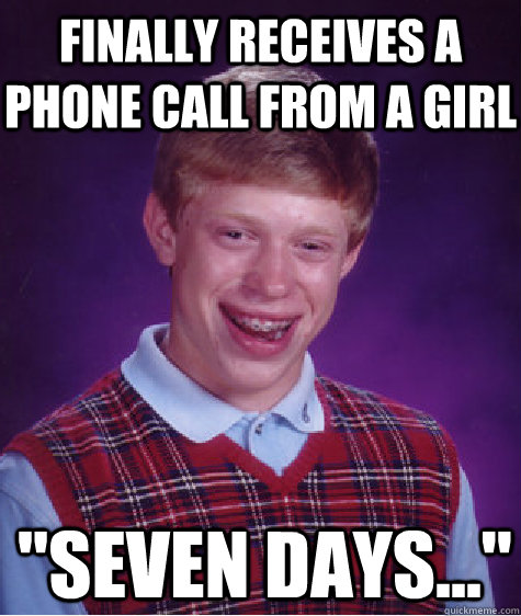 finally receives a phone call from a girl