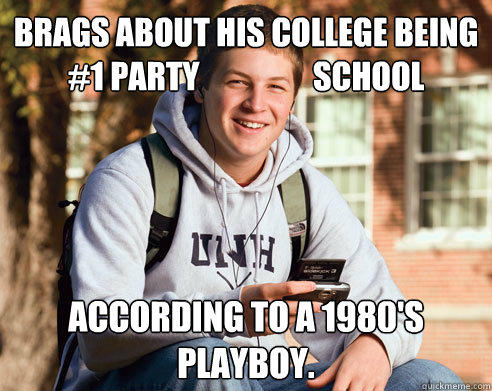 Brags about his college being #1 party                  school According to a 1980's playboy. - Brags about his college being #1 party                  school According to a 1980's playboy.  College Freshman