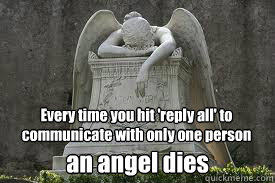 Every time you hit 'reply all' to communicate with only one person an angel dies  Reply All