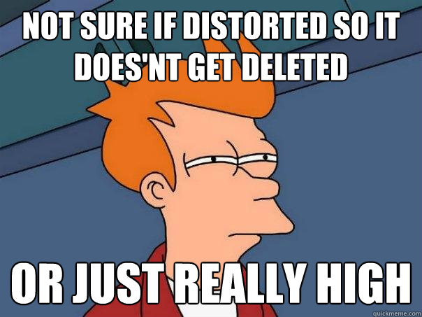 not sure if distorted so it does'nt get deleted or just really high - not sure if distorted so it does'nt get deleted or just really high  Futurama Fry