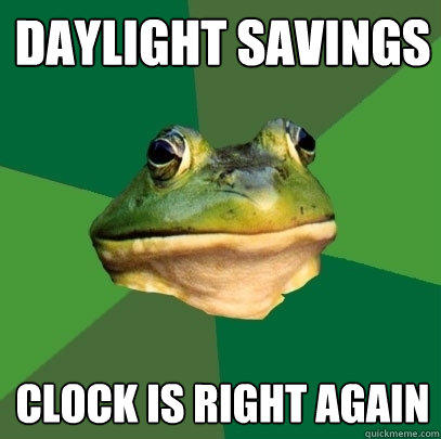 daylight savings clock is right again - daylight savings clock is right again  Foul Bachelor Frog