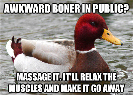 Awkward boner in public? Massage it. It'll relax the muscles and make it go away - Awkward boner in public? Massage it. It'll relax the muscles and make it go away  Malicious Advice Mallard