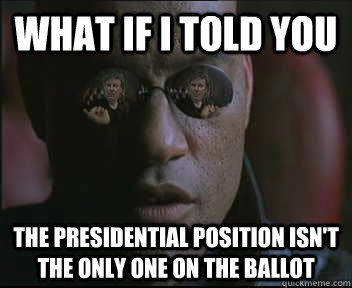 What if i told you The presidential position isn't the only one on the ballot - What if i told you The presidential position isn't the only one on the ballot  brink what if i told you