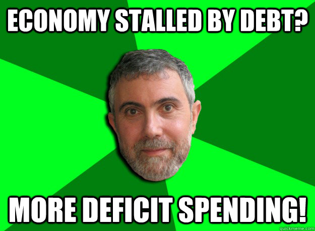 Economy stalled by debt? More deficit spending! - Economy stalled by debt? More deficit spending!  Advice Krugman